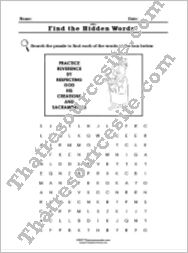 Virtue of Reverence Word Search Worksheet