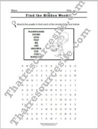 Virtue of Thankfulness Word Search Worksheet