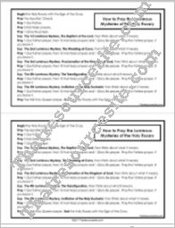 How to Pray the Rosary Reference Sheet (Luminous Mysteries)