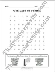 Our Lady of Fatima Word Search Puzzle (8 Words)