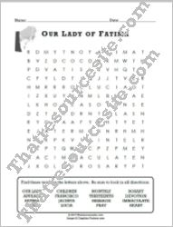 Our Lady of Fatima Word Search Puzzle (16 Words)