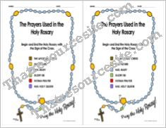 Color Coded Half-Page Rosary Reference Sheet