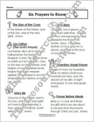 Six Prayers to Know Reference Sheet