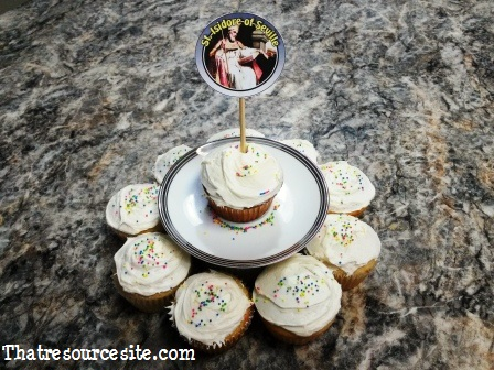 All Saints Day cupcake decoration featuring St. Isidore of Seville