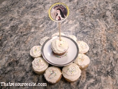 All Saints Day cupcake decoration featuring St. Teresa of Avila
