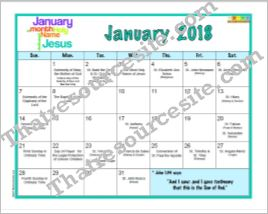 January 2018 Printable Liturgical Calendar Page