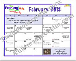 February 2018 Printable Monthly Calendar Page