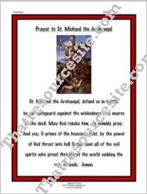 Prayer to St. Michael the Archangel Prayer Sheet