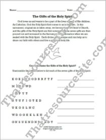 Gifts of the Holy Spirit Word Scramble Worksheet