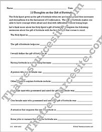 10 Thoughts on the Gift of Fortitude Worksheet