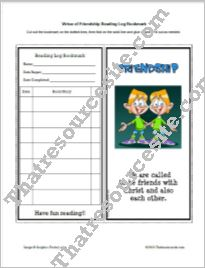 Virtue of Friendship Reading Log Bookmark