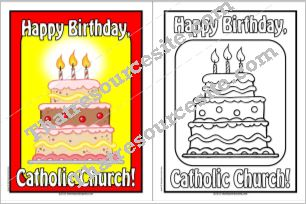 Happy Birthday Catholic Church Poster Set