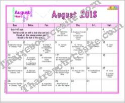 August 2018 Printable Calendar Page