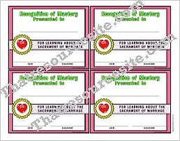 Certificate of Mastery for the Sacrament of Marriage