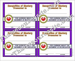 Certificate of Mastery for the Sacrament of Reconciliation