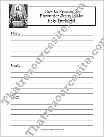 How to Prepare to Encounter Jesus in the Holy Eucharist Writing Sheets