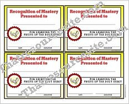 Certificate of Mastery for the Fruits of the Holy Spirit