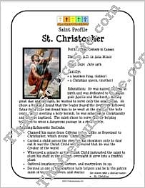 St. Christopher Saint Profile Sheet