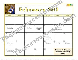 February 2019 Printable Monthly Calendar Page