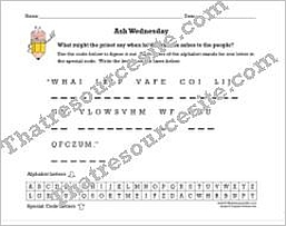 Ash Wednesday Cryptogram Puzzle Worksheet