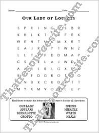 Our Lady of Lourdes Word Search Puzzle (8 Words)
