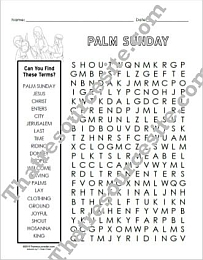 Word Search About Palm Sunday