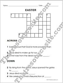 Easter Crossword Puzzle in Large Print