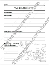 Good Samaritan Bible Study Worksheet