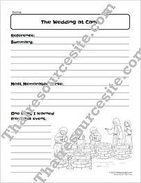 Wedding at Cana Bible Study Worksheet