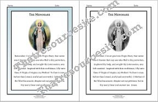 Memorare Prayer Sheet Set