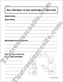 Parable of the Unforgiving Servant Bible Study Worksheet