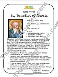 St. Benedict of Nursia Saint Profile Sheet