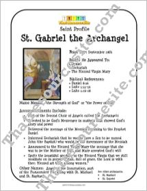 St. Gabriel the Archangel Saint Profile Sheet