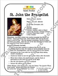 St. John the Evangelist Saint Profile Sheet