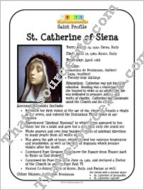 St. Catherine of Siena Saint Profile Sheet