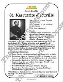 St. Marguerite d'Youville Saint Profile Sheet