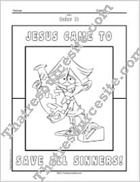 Jesus Came to Save All Sinners Coloring Sheet