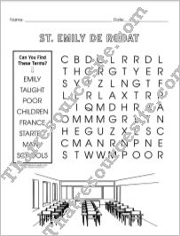 Saint Emily de Rodat Word Search Puzzle EZ