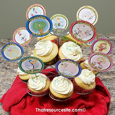 Twelve Days of Christmas Cupcake Toppers for Kids