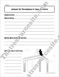 Jesus Is Tempted in the Desert Bible Study Worksheet