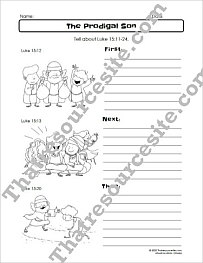 Prodigal Son First Next Then Bible Worksheet Set