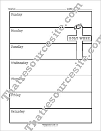 Seven Days of Holy Week Graphic Organizer Worksheet