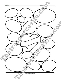 Heart with Ovals Graphic Organizer Worksheet