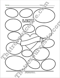 Lent, Heart, and Ovals Graphics Organizer Worksheet