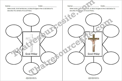 6 Words to Describe Good Friday Worksheet for Kids