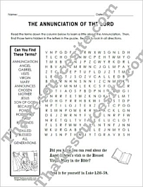 Annunciation of the Lord Word Search Puzzle Worksheet