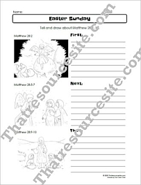 Easter Sunday First Next Then Bible Worksheet Set