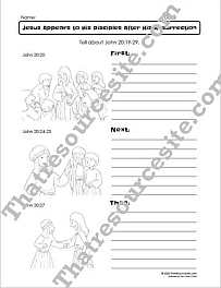 Jesus Appears to His Disciples After His Resurrection First Next Then Bible Worksheet Set