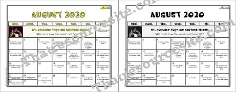 August 2020 Printable Liturgical Calendar Page for Kids