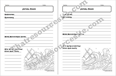 Jonah Flees Bible Study Worksheet for Kids